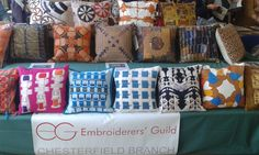 Our cushions on display at East Midlands Regional Day. We used the digital print fabric firm Fingerprint. We chose medium weight cotton fabric in size 46 cm square. Regional, Digital Prints, Cotton Fabric, Old Things, Cushions, Gift Wrapping, Display, Medium, Projects