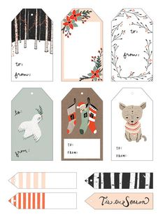 Printable Gift Tags Printable Gift Tags by Kelli Murray - click through for many more!Printable Gift Tags by Kelli Murray - click through for many more! Free Printable Christmas Gift Tags, Holiday Gift Tags, Holiday Crafts, Holiday Fun, Printable Tags, Free Printables, Christmas Labels, Printable Templates, Label Templates