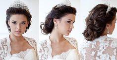 Penteado de noiva estilo princesa: semi-preso com coroa.