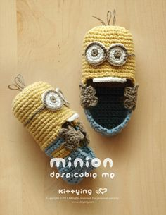 Minion Despicable Me Baby Booties Crochet PATTERN by Kittying.com / Mulu.us