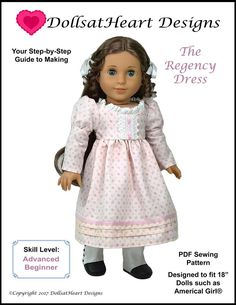 "Regency Era Dress 18"" Doll Clothes Pattern"