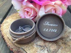 Shabby chic wedding ring box rustic wedding ring by PineNsign