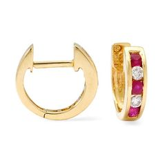 .45 ct. t.w. Ruby and .20 ct. t.w. Diamond Hoop Earrings in 14kt Yellow Gold