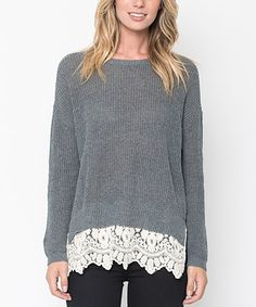 Another great find on #zulily! Charcoal Lace-Trim Tunic #zulilyfinds
