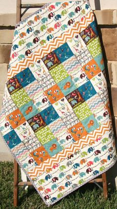 Organic Baby Quilt, Safari Soiree, Birch Fabrics, All Natural Eco Friendly Blanket, Zoo Animal Patchwork Elephant Giraffe Quilt Baby, Cot Quilt, Baby Quilt Patterns, Stripe Quilt Pattern, Charm Pack Quilt Patterns, Quilting Projects, Quilting Designs, Sewing Projects, Charm Pack Quilts