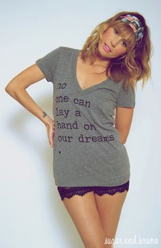 No one can lay a hand on our dreams.  V-neck lace shorts!