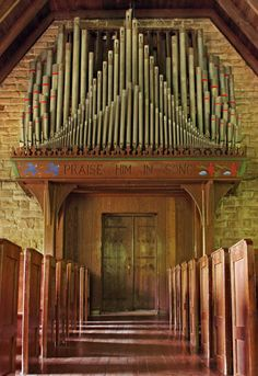 Holtkamp pipe organ in the Pine Mountain Settlement School Chapel, designed by Mary Rockwell Hook, Harlan County, Kentucky