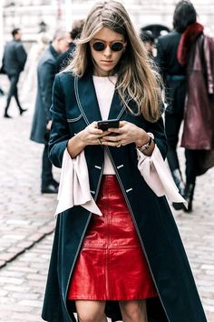 We've rounded up the coolest leather-skirt outfits fashion girls are wearing now. See them here.