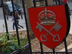 Cross Keys    Coat of arms of the See of York [Keys of St Peter and royal crown] outside St Peter's church in Nottingham city centre.