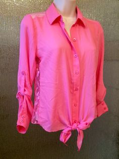 Candies Pink Lace Rib/Shoulder Cut-Out Tie Front Top size Small #Candies #LaceCutOut