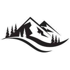 Silhouette of mountain range. Logotype template for adventure tourism. T Shirt Logo Design, Graphic Design Fonts, Web Design, Logo Montagne, Wolf Stencil, Silhouette Clip Art, Cityscape Silhouette, Landscape Silhouette, Outdoor Logos