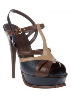 Chocolate T-Strap Sexy Peep Toe Leather Dress Sandals - Sandals - Shoes