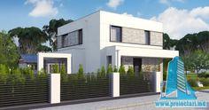 Proiect de casa cu doua etaje,acoperis plat si terasa de vara amenajata la sol -100960     Proiectari si Constructii House Front Design, Home Fashion, Garage Doors, New Homes, Mansions, House Styles, Outdoor Decor, Home Decor, Houses