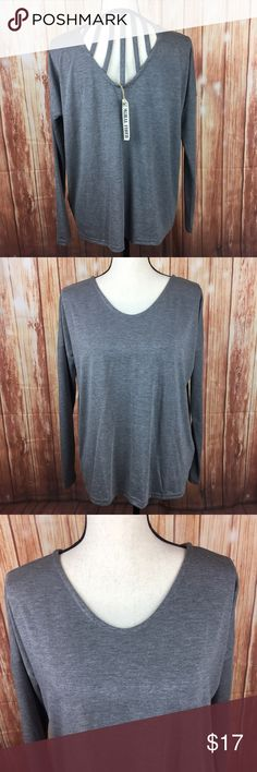 """Moral Fiber Gray Long Sleeve Shirt Top Caged Back Size: Women's SmallBrand: Moral FiberStyle # 1325Condition: New with cloth tag, never worn.Soft, medium gray long sleeve shirt.Long sleeve. Scoop neck. Cage detail between shoulder blades. Fabric: 62% Polyester, 33% Rayon, 5% Spandex Measurements:21.5"""" bust from underarm to underarm24"""" length from shoulder to hem~19"""" sleeve length from shoulder to cuff Moral Fiber Tops Tees - Long Sleeve"""