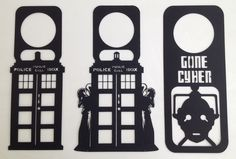 Doctor Who Tardis Tardis Angel Cyberman Plastic Black Door Hangers Set of 3 | eBay