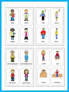 This set has 480 flashcards for all major topics in German. Learn and teach German with great visuals from adjectives to weather.