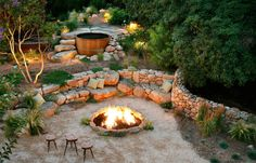 drystack boulders for fire pit and hot tub
