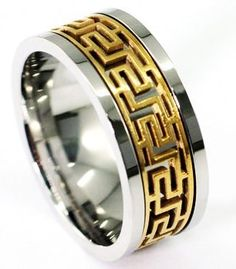 8053b1a92a Exquisite Silver Stainless Steel Gold Aztec Greek Key Maze Spinner Design  10mm Band Wedding Fashion Ring with PreciousBags Dust Bag - UK Size V