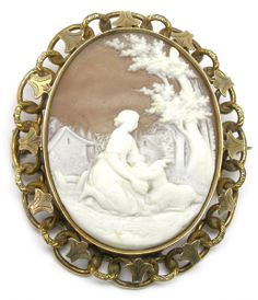 Victorian 14k Yellow Gold Cameo Pin   New York Estate Jewelry   Israel Rose