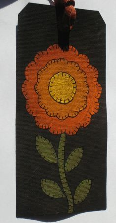 Primitive Folk Art Penny Rug Style Painted Flower by paintedpony99, $9.00
