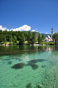 Bohinj, Slovenia. The Bohinj Basin is a 20 km long and 5 km wide basin within the Julian Alps, in the Upper Carniola region of northwestern Slovenia. It is traversed by the Sava Bohinjka river. Its main feature is the periglacial Lake Bohinj. (V)