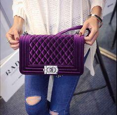 £15.98 Chanel Boy style velvet bag