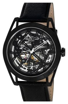 Free shipping and returns on Kenneth Cole New York Skeleton Dial Automatic Watch, 44mm at Nordstrom.com. A geometric design decorates the see-through dial that lets you peek into the inner workings of this handsome leather-strap watch.