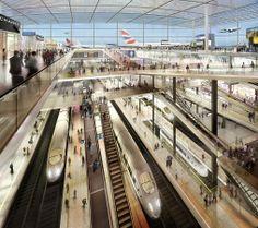Rendering della stazione ferroviaria all'interno del Thames Hub Airport su progetto di #Norman #Foster. #treno