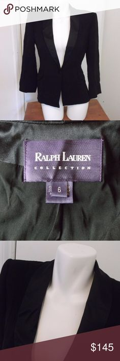 Ralph Lauren Collection Black Tuxedo Jacket 6 This is a misses tuxedo style vintage jacket blazer by Ralph Lauren Collection, Purple Label in a size 6 100% silk, dry clean made in the USA One button closure Tuxedo style satin collar Fully Lined Shoulder pads Chest measures 18 inches across Waist measures  15  inches across Hips measure  18 inches across Length from shoulder to hem measures  24  inches  Sleeve measures  22 inches from shoulder to hem black in color In excellent used condition…
