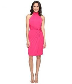 CATHERINE Catherine Malandrino Sleeveless Mock Neck Wrap Dress (Pinup Pink) Women's Dress