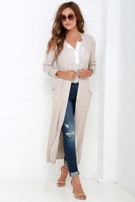 You've waited long enough! Today is the day you make the At Great Length Beige Long Cardigan Sweater yours forever! Perfectly soft cable knit has a thick and cozy construction that forms a ribbed V-neckline secured with a midi-length placket of large beige buttons. Long fitted sleeves are finished with ribbed cuffs, while two front patch pockets offer the perfect place to keep your hands warm.