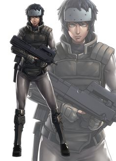 aqua (copyright) aqua eyes arm guards armor belt black hair bulletproof vest bullpup cyberpunk cyborg expressionless eyes forehead protector ghost in the shell gloves gun ikegami noroshi kusanagi motoko looking at viewer muscle science fiction shin g Character Concept, Character Art, Concept Art, Character Design, Teen Titans, Rwby, Anime Ghost, Full Metal Alchemist, Sci Fi Characters
