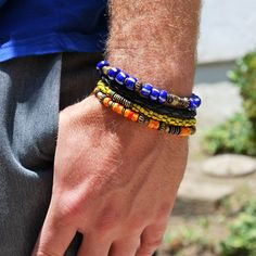For HIM: Men's Bracelet - Blue Stripes - Vintage African Trade Beads - Brass - Nautical Bracelet. $42.00, via Etsy.