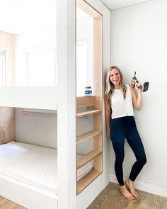Ikea Bunk Bed, Bunk Bed Rooms, Bunk Beds Built In, Build In Bunk Beds, Big Girl Rooms, Boy Room, Kids Room, Custom Bunk Beds, Bunk Bed Designs