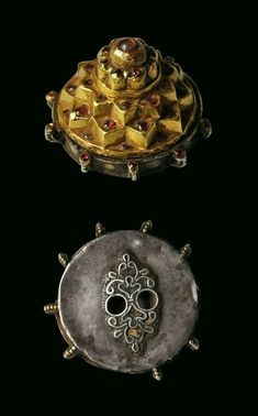 Sri Yantra circa 17th-18th century or earlier. South India. Ruby-Set Gold Covered Sri Yantra to Adorn a Temple Statue height: 3.5cm, diameter: 5cm, weight: 44g