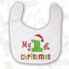Baby Bib Personalised 1st Christmas Baby by BabysPreciousGifts