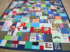 """Baby Clothes Quilt from Jelly Bean Quilts - Customer says """"It looks amazing! Only two more quilts to go and all my kids will have their precious quilts! My other two love theirs and Corban will love his too! Thanks for all your hard work!"""""""