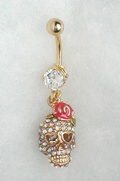 Cute skull belly button ring
