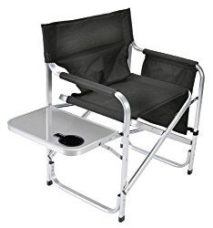 Delightful Faulkner Aluminum Director Chair With Folding Tray And Cup Holder, Black