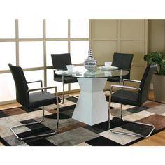 Virgo 5 Piece Dining Set in White/Black | Nebraska Furniture Mart