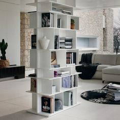 MDF bookcase in white mod. // Libreria in MDF bianco mod. Contemporary Bookcase, Contemporary Design, Bookcases For Sale, Library Bookshelves, Laque, Open Plan Living, Smart Home, Shelving, Jackson