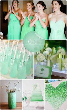 07 brautjungfernkleid ombre hochzeit dekoration farbverlauf gruen Ombre Hochzeit – Neu Hochzeitstrends 2014