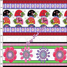 "Quilting Treasures ""Lazy Little Ladybugs"" 24385-X Floral Striped Fabric Priced Per 1/2 Yd. by LOVINGTOUCHFABRICS2 on Etsy"
