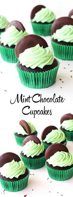 Easy Mint Chocolate Cupcakes | Sweetest Menu