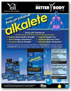 ~Alkalete~   Body pH Enhancer  Reduces Excess Body Acid placing your body into Optimal Health. Reducing Excess Acid allows your body to decrease:  Sore Muscles after a Workout, Improving Recovery Time (decreases the lactic acid buildup)  Boosts Energy Levels and Endurance, no more feeling so fatigued  Supports weight loss, some people have too much body acid, preventing weight loss from occuring.  No more:  Acid Indigestion  Gout  Joint Aches/Pains  All Natural with No side Effects
