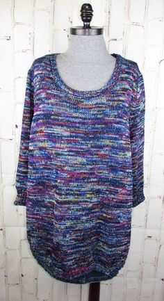 34366c5867a Kim Rogers Curvy womens 3X Space Dye Round Hem 3 4 sleeve Pullover Blue  Sweater
