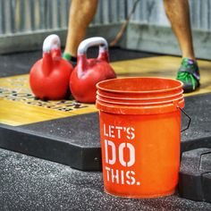The bucket says it all when you are about to Long Cycle 32kg|70lb  kettlebells. Thanks to #orionstrengthguild for using our kettlebells. Photo credit to Jon Gimpel JM Rabbit Photgraphy. ---------------------------- #kettlebell #kettlebells #kbswings #kettlebellsport #kettlebellswings #homegym #garagegym #crossfit #equinox #strength #workout