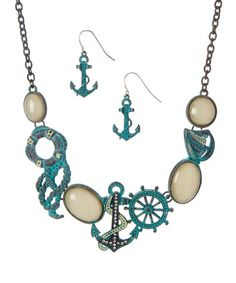 Look what I found on #zulily! Ivory Anchor Estate Necklace & Earrings Set #zulilyfinds