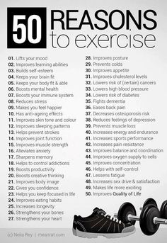 50 Reasons to Exercise - Motivation ✿✿✿♥♥♥✿✿✿♥♥♥✿✿✿♥♥♥✿✿✿♥♥♥✿✿✿♥♥♥✿✿✿♥♥♥ Lose Weight & Get Healthy with All Natural Skinny Fiber!!! http://DeeDeesdarlingdivas.com/ ✿✿✿♥♥♥✿✿✿♥♥♥✿✿✿♥♥♥✿✿✿♥♥♥✿✿✿♥♥♥✿✿✿♥♥♥