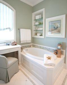 Serene Coastal Bathroom: http://www.completely-coastal.com/2014/10/traditional-coastal-bathrooms.html